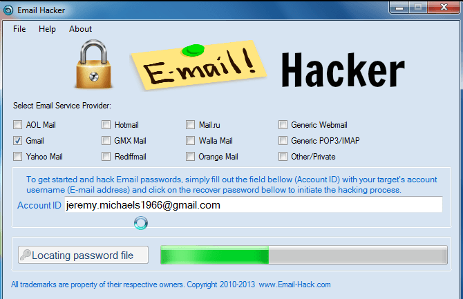 hacking email password: